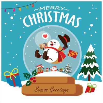 Vintage Christmas poster design with vector Snowman, Santa Claus, reindeer, elf,  gingerbread man characters.