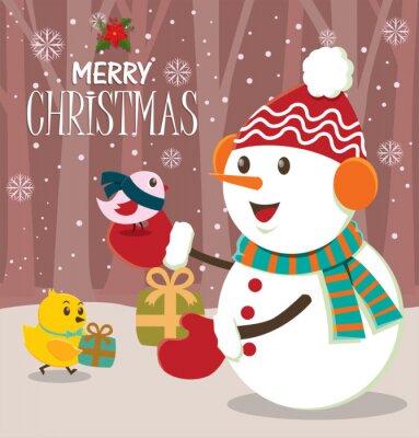 Vintage Christmas poster design z bałwana, ptaka, chick
