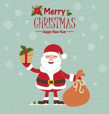 Vintage Christmas poster design z Mikołajem
