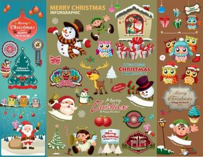 Vintage Christmas poster design z postaciami Bożego Narodzenia.