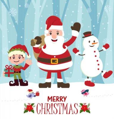 Vintage Christmas poster design z Santa Claus, Elf i Snowman
