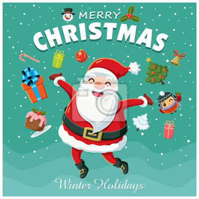Vintage Christmas poster design z znaków Santa Claus.