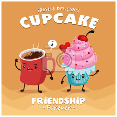 Vintage ciasto i kawa projekt plakatu z ciastem i kawą charakteru.