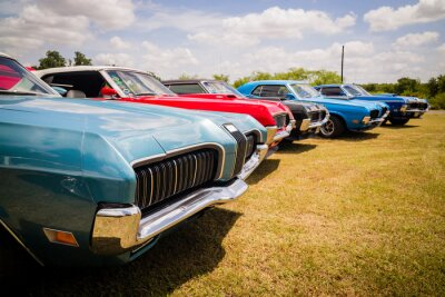 Plakat Vintage classic muscle cars parked together in field for sale or club cruise or car show