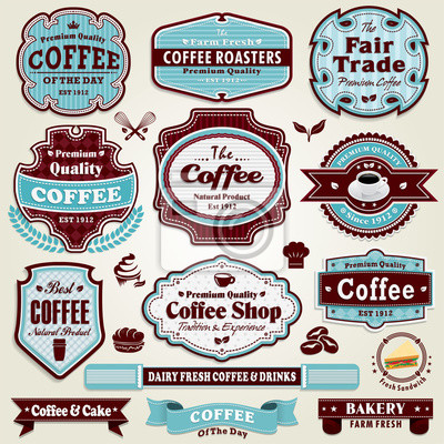 Plakat Vintage Coffee frame set label