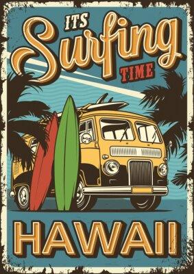 Plakat Vintage colorful surfing poster