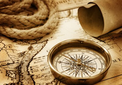 Plakat Vintage compass, rope and paper sroll on map