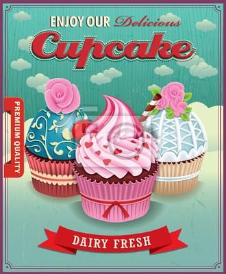 Vintage cup cake poster design