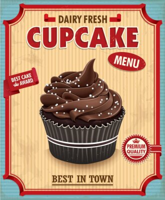 Plakat Vintage cupcake czekolady plakat projekt