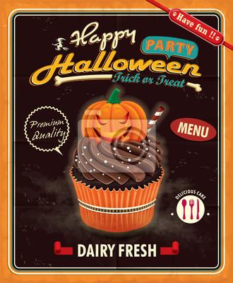 Plakat Vintage Cupcake Halloween plakat projekt