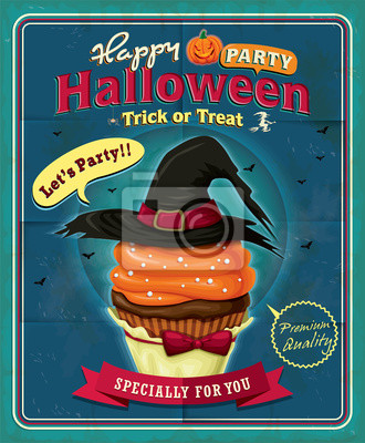 Vintage Cupcake Halloween plakat projekt