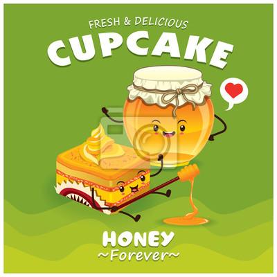 Vintage Cupcake & honey projekt plakatu z charakterem wektor cupcake.