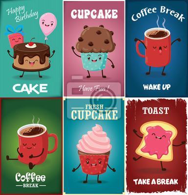 Vintage Cupcake plakat projektowania zestaw z wektora ciastko, kawa, tosty, charakter.
