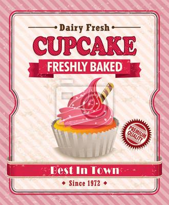 Plakat Vintage Cupcake projekt plakatu