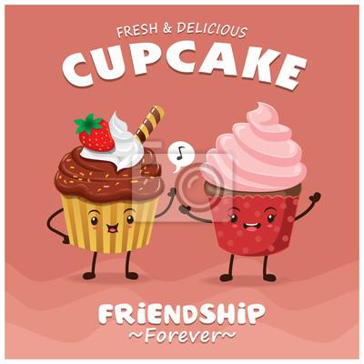 Vintage Cupcake projekt plakatu z charakterem wektor cupcake.