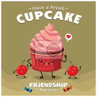 Plakat Vintage Cupcake projekt plakatu z charakterem wektor cupcake.