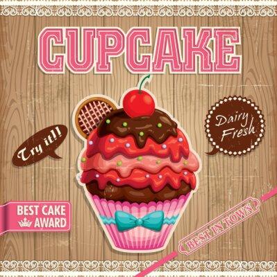 Plakat Vintage Cupcake projekt plakatu z drewna tle
