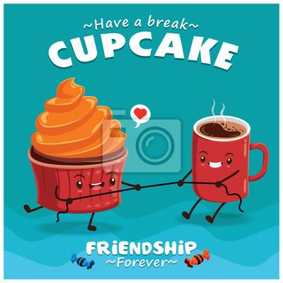 Vintage Cupcake projekt plakatu z wektora Cupcake & charakteru kawy.