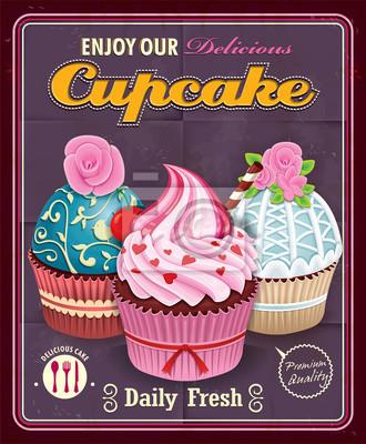 Plakat Vintage Cupcake projektowania plakatu