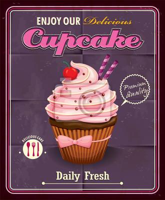 Vintage Cupcake projektowania plakatu