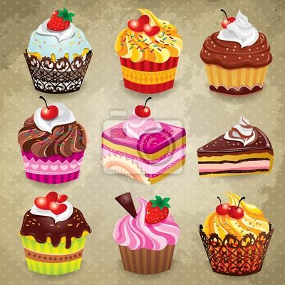Plakat Vintage Cupcake zestaw