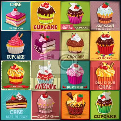 Plakat Vintage Cupcake zestaw projekt plakatu