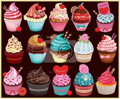 Vintage Cupcake zestaw projekt plakatu