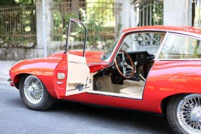 Plakat Vintage czerwone coupe