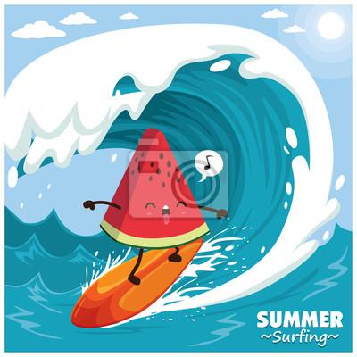 Vintage deska surfingowa plakat z surferem watermelon wektor.