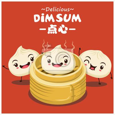 Vintage dim sum animowany projekt plakatu. Chiński tekst Środki chińskie potrawy gotowane na parze lub smażonych małych pikantne pierogi zawierające różne nadzienia, podawane jako przekąska lub danie