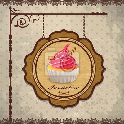 Vintage drewniana rama z cupcake szablonu