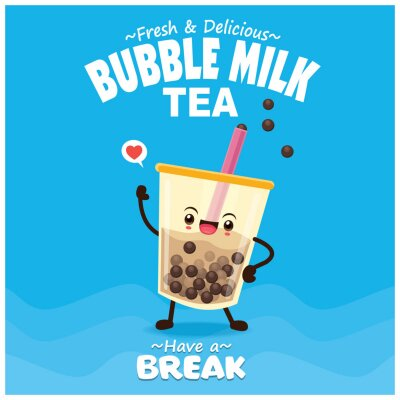Vintage drink poster design with bubble milk tea, pearl milk tea, character.