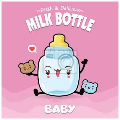 Vintage dziecko plakat projekt z postaci butelki mleka wektor.