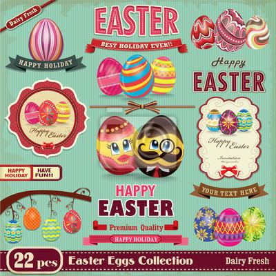 Plakat Vintage Easter egg design element set