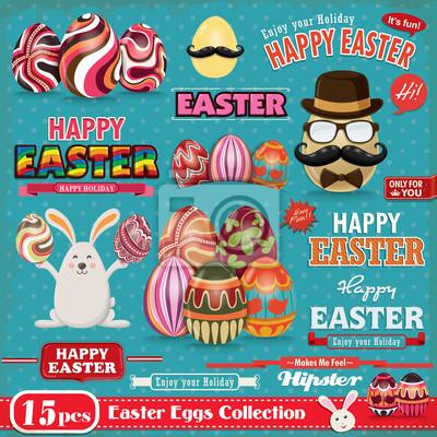 Plakat Vintage Easter egg element projektu zestaw
