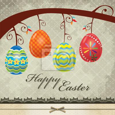 Plakat Vintage easter egg projekt Zaproszenie