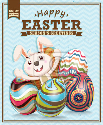 Plakat Vintage Easter poster design with bunny