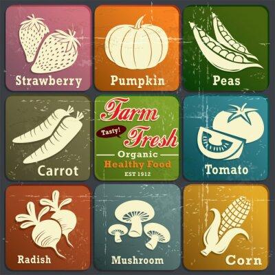 Plakat Vintage etykieta zagroda świeży plakat z warzywami