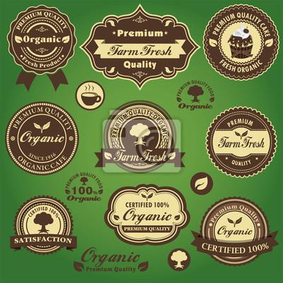 Plakat Vintage etykiety Farm Fresh Organic projektowania ustaw z ciasta, kawa