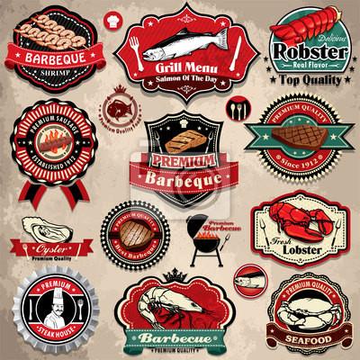 Plakat Vintage etykiety grillowania stek owoce morza, ikony, zestaw szablonów odznaczenia