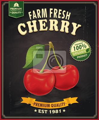 Vintage Farm Fresh Cherry projekt plakatu