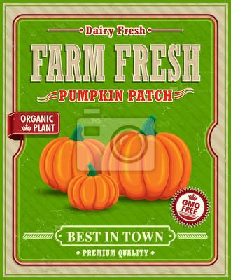 Vintage farm fresh dynia poprawki projekt plakatu