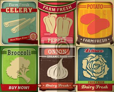 Vintage Farm fresh set poster design