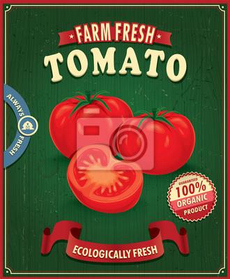 Vintage farm fresh tomato poster design