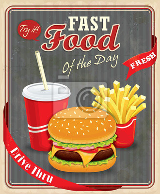 Vintage fast food projekt plakatu z hamburgery, frytki i napój