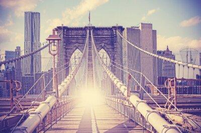 Plakat Vintage filtrowany obraz Brooklyn Bridge, NYC.