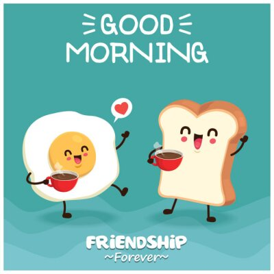 Vintage food poster design with vector egg & toast characters.