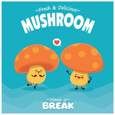 Vintage food poster design with vector mushroom character.