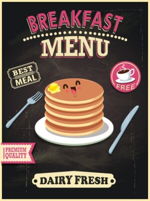 Vintage food poster design with vector pancakes character.
