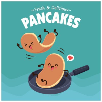 Plakat Vintage food poster design with vector pancakes character.